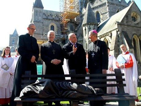 Homeless Jesus sculpture unveiled at Dublin's Christ Church Cathedral